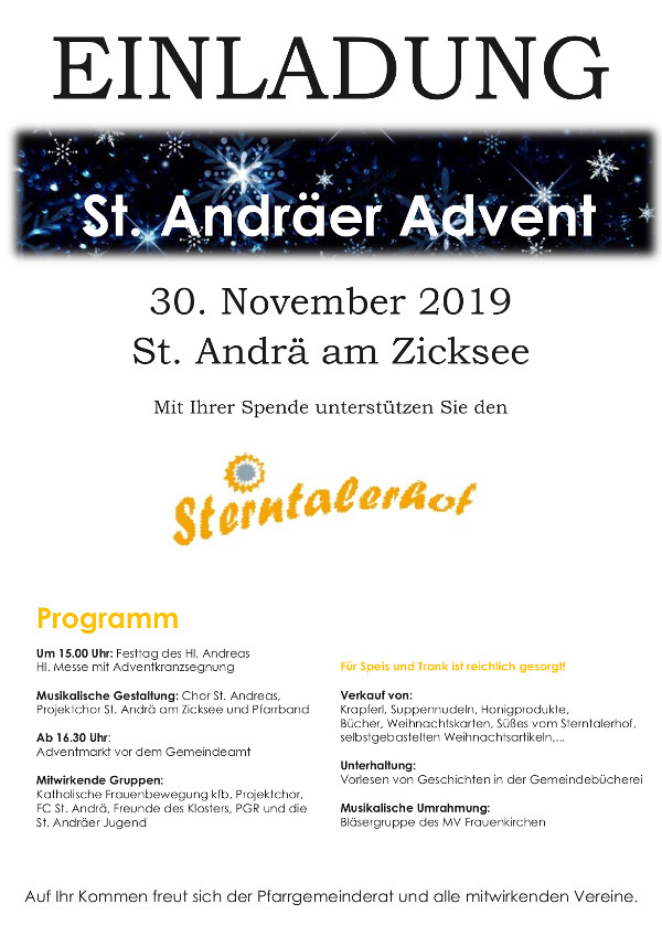 Einladung St. Andräer Advent 2019